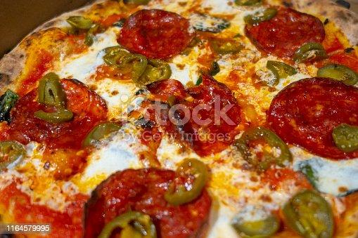 Single serving brick oven Italian  Neapolitan-style pizza with spicy Hot Soppressata, fresh mozzarella, sliced chilies and Honey.