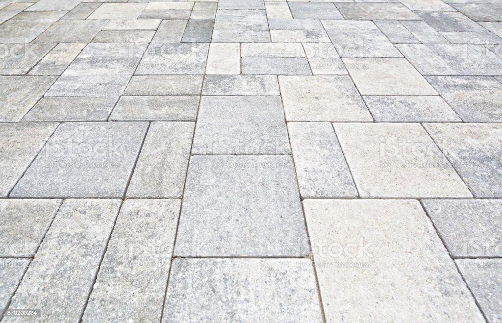 Brick pavers used on a driveway stock photo