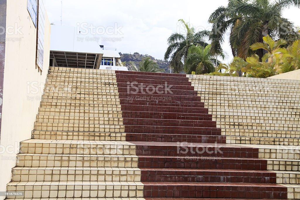 Brick Staircase, Zanzibar, Tanzania, East Africa, Indian Ocean royalty-free stock photo
