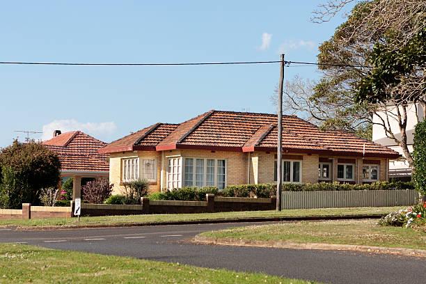 brick suburban residence stock photo