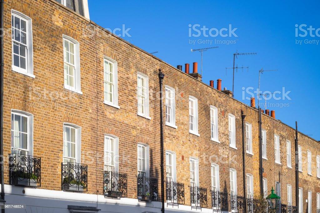 Brick terrace houses around Chelsea in London stock photo