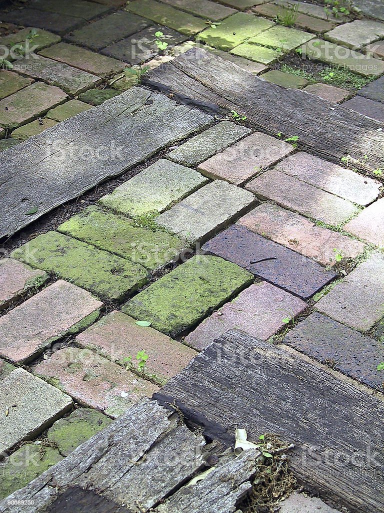Brick terrace steps stock photo