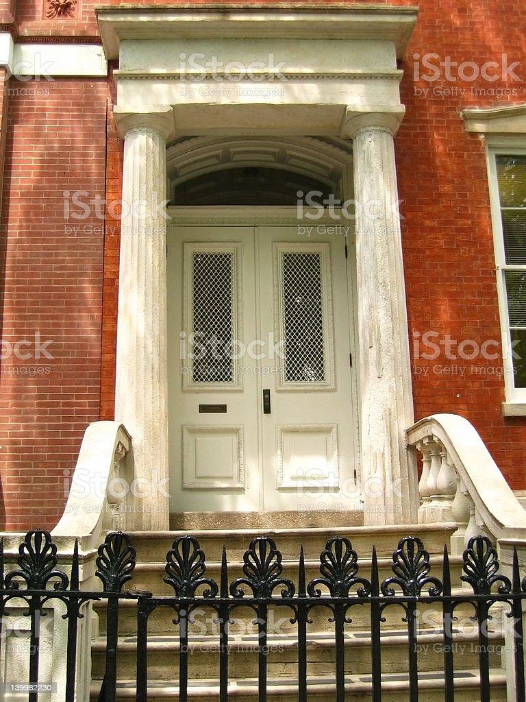 Brick townhouse front door royalty-free stock photo