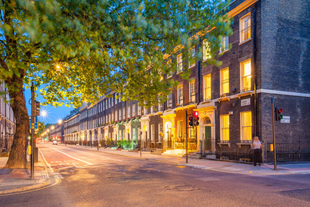 Brick townhouses in central London England UK stock photo