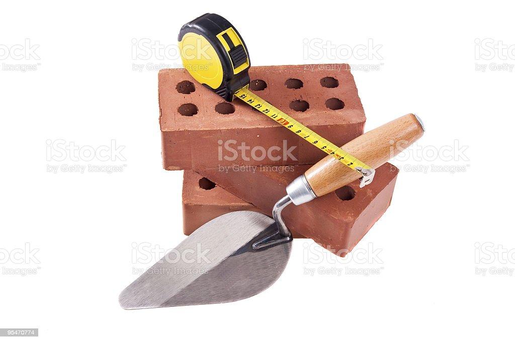 brick , trowel And meter royalty-free stock photo