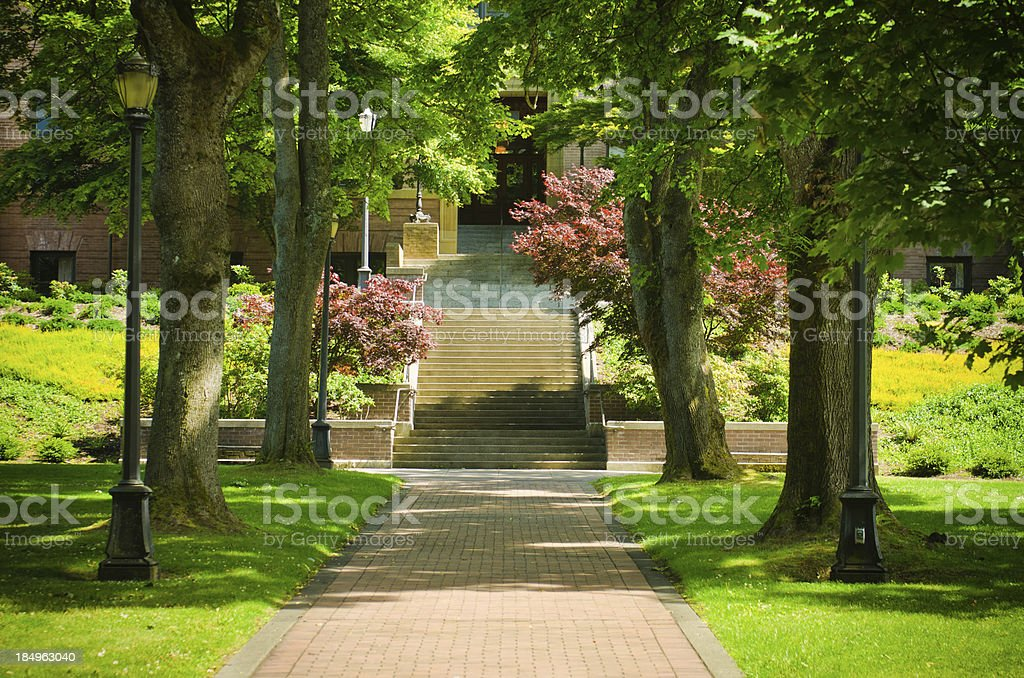 Brick walkway leading to Old Main at Western Washington University stock photo