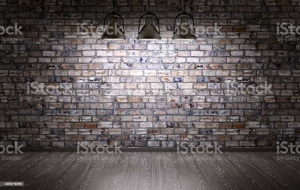 Brick wall and lamps background royalty free stock photo