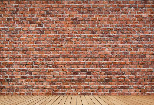벽돌 벽과 나무 바닥 국내 방 - 벽돌 담 뉴스 사진 이미지