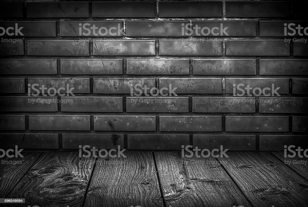 Brick wall and wooden floor interior royalty-free stock photo