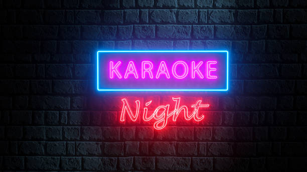 Brick wall at night with neon sign karaoke night. Advertising bright night karaoke bar, party, disco bar, night club, live music show. Live music stock photo