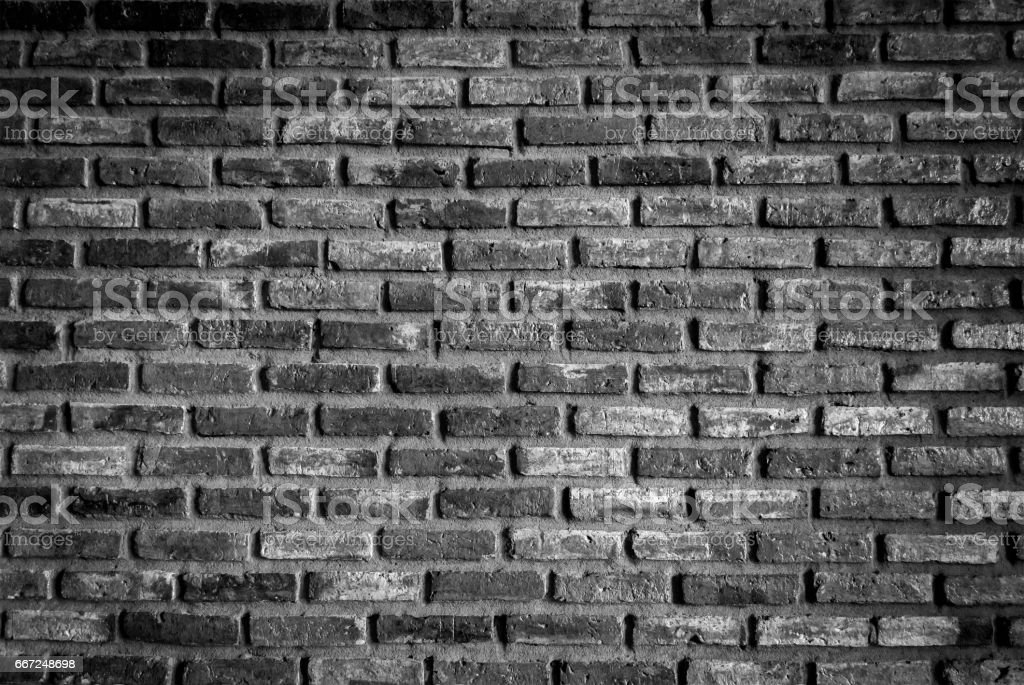 Brick wall background in black and white color. stock photo