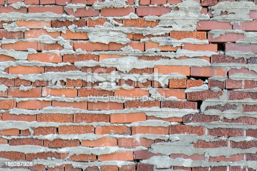 Brick wall background with sloppy mortar close up stock for Uses for a brick