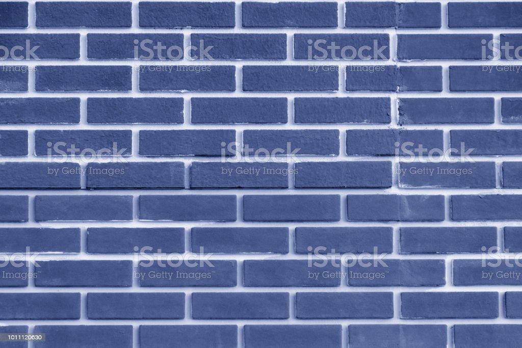 Cor de tijolo da parede azul. Textura geométrica brilhante. - foto de acervo