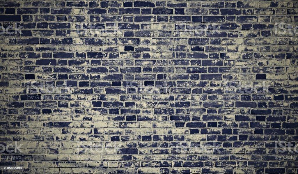 Brick wall blue grunge texture retro stock photo