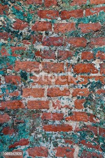 Old brick wall close-up photo. Vintage texture