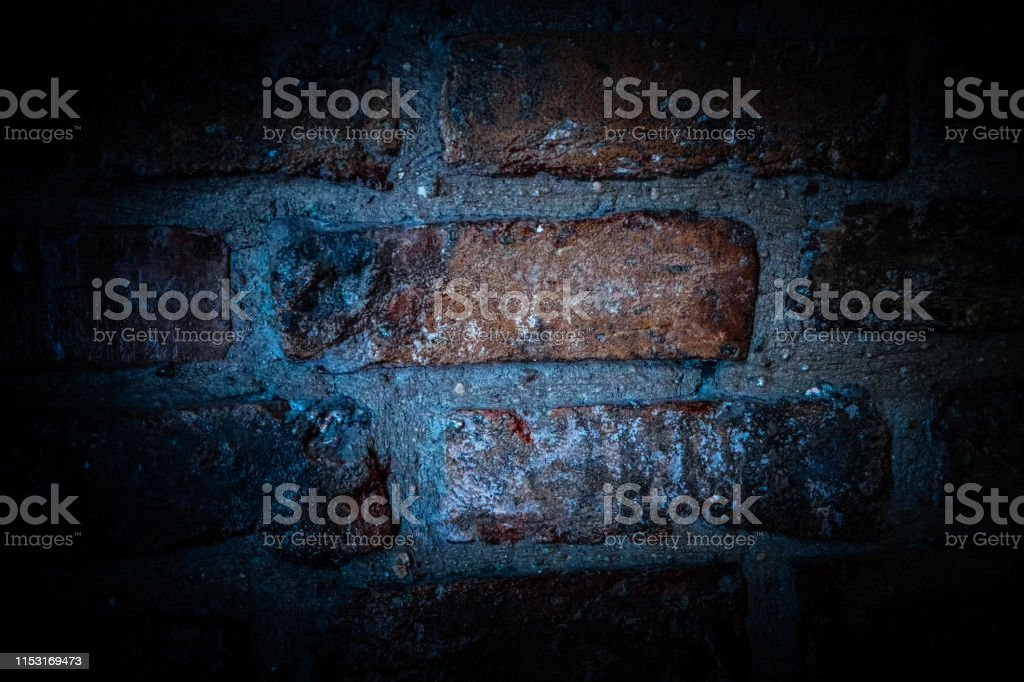 Brick wall, dark basement background. Scary backdrop.