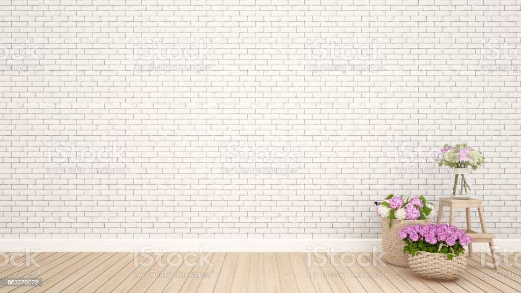 Brick wall decoration and flower in empty room.Interior Design - 3D Rendering stock photo