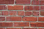 Close up of section of old brick wall.