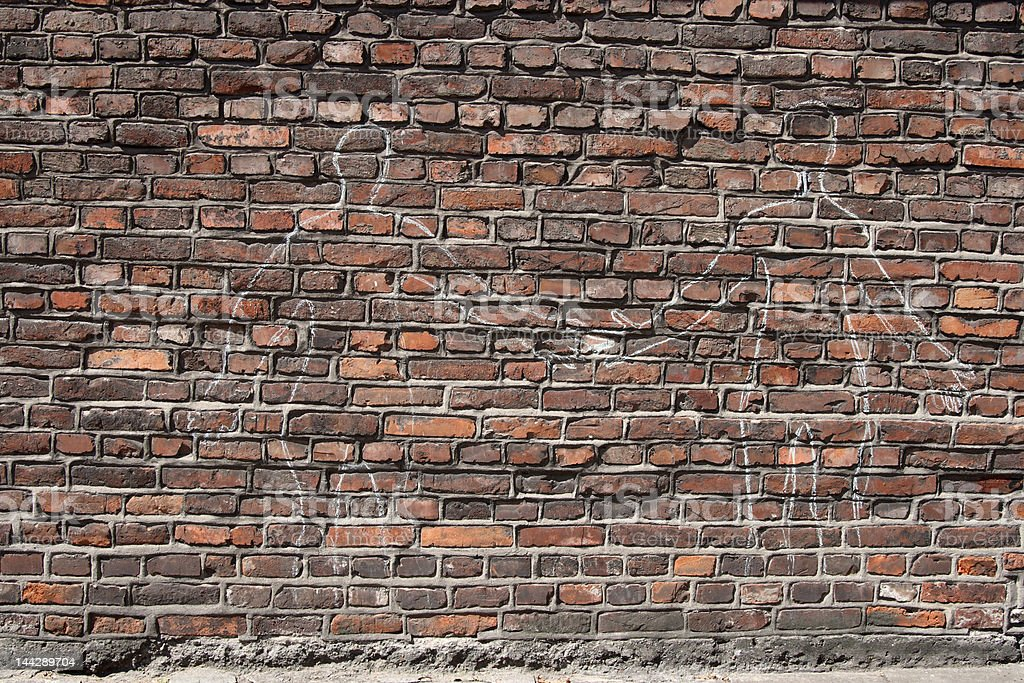 Brick Wall from Cracow Jewish District Kazimierz royalty-free stock photo