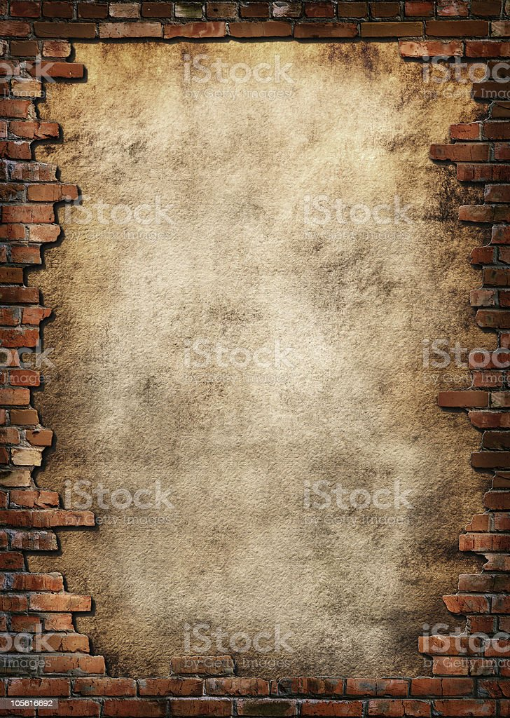 Brick wall grungy frame royalty-free stock photo