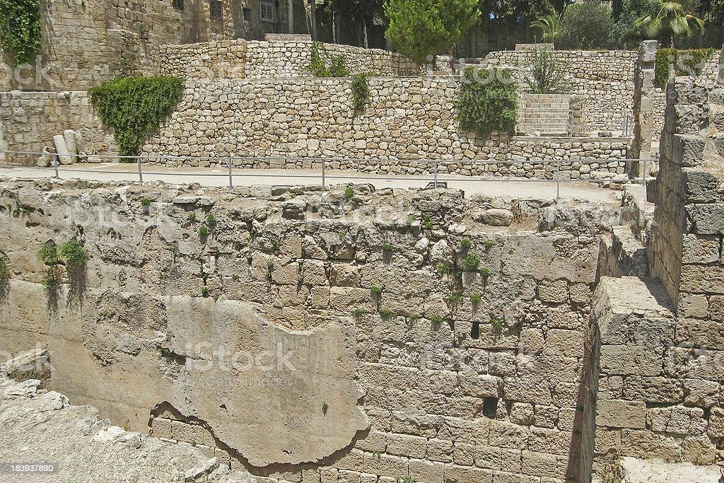 Brick wall in ancient Pool of Bethesda ruins royalty-free stock photo