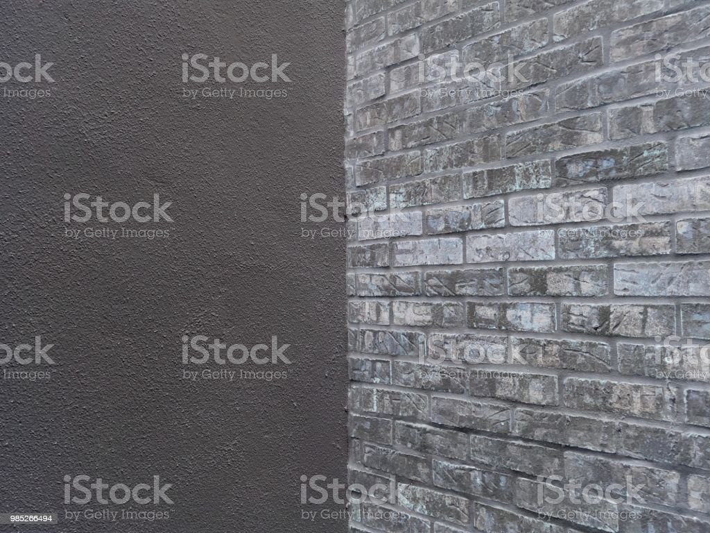 Brick Wall in Dark Monochrome Background stock photo
