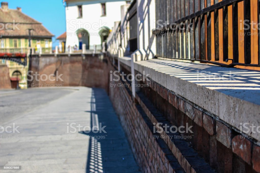 A brick wall in the focus stock photo