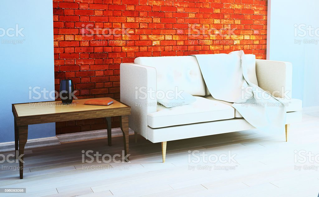 Brick wall in the living room interior. 3d illustration royalty-free stock photo