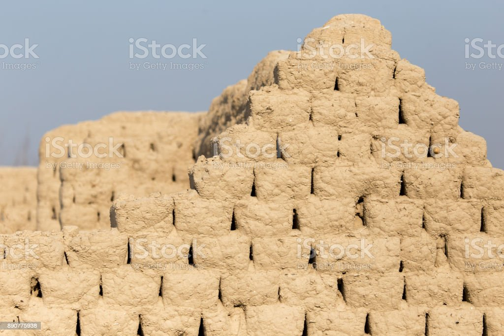Brick wall made of clay stock photo