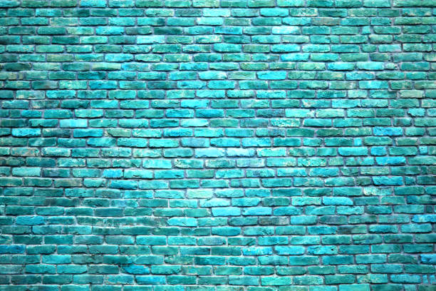 Brick wall of blue color, the texture of the stone surface stock photo