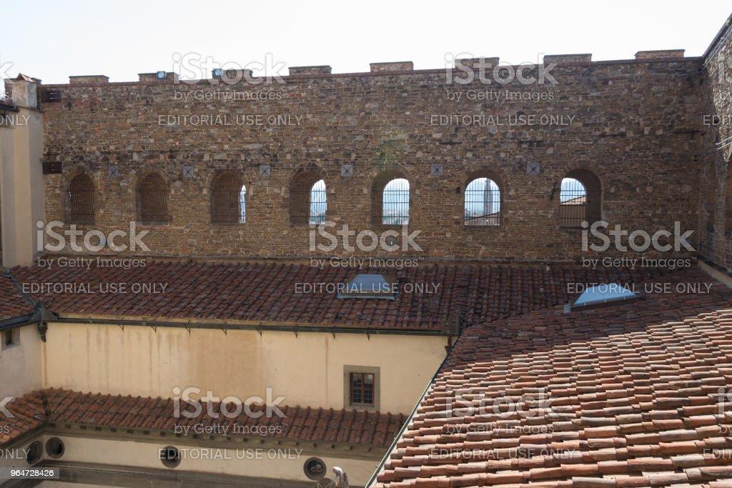 Brick wall of Palazzo Vecchio. Florence, Tuscany, Italy. royalty-free stock photo