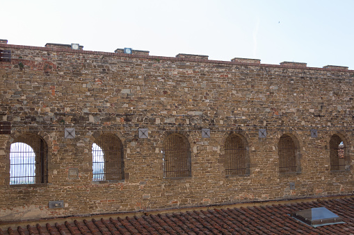 Brick Wall Of Palazzo Vecchio Florence Tuscany Italy Stock Photo - Download Image Now