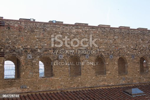 Brick Wall Of Palazzo Vecchio Florence Tuscany Italy Stock Photo & More Pictures of Architecture