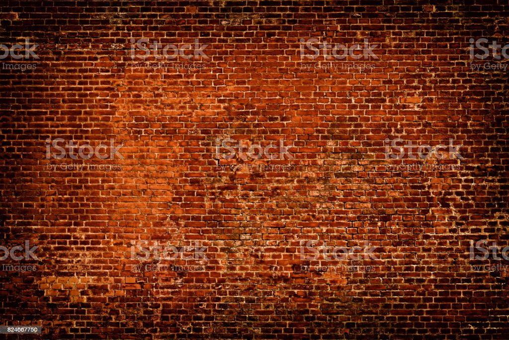 Brick wall of red color background stock photo