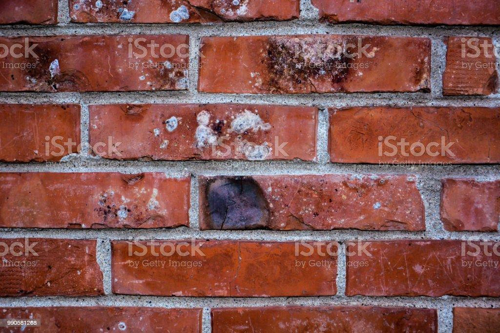 Brick wall of red color, horizontal of masonry. Old red brick texture...
