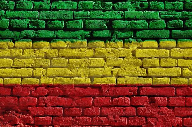 tuğla duvar yeşil, sarı ve kırmızı boyalı. rastaman bayrağı - reggae stok fotoğraflar ve resimler