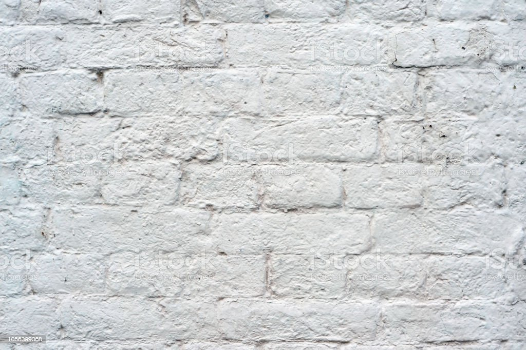 Brick Wall Painted With White Paint With Drawing The Texture Of Bricks Background Stock Photo Download Image Now Istock