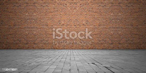 Brick wall stone flooring