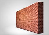 Brick wall on white background.