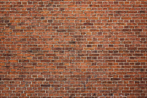 Grunge red brick wall background with copy space
