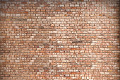 Panoramic view of empty, old, red brick wall background with copy space