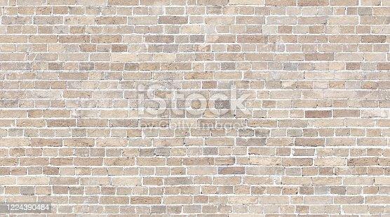 Beige Brick wall seamless pattern background. Whitewashed stone texture background