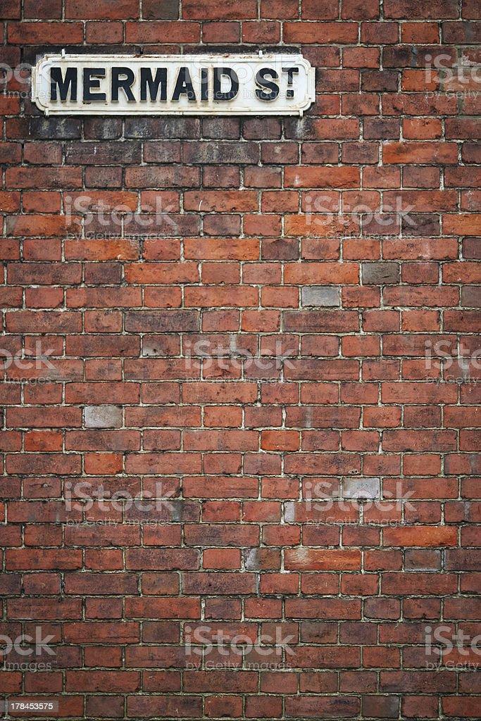 brick wall-street-Schild Meerjungfrau st rye uk – Foto