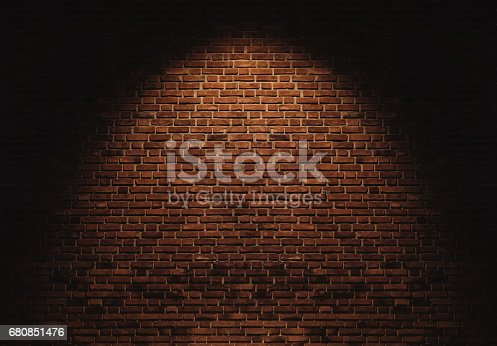 istock Brick wall texture backgrounds, with light spot 680851476