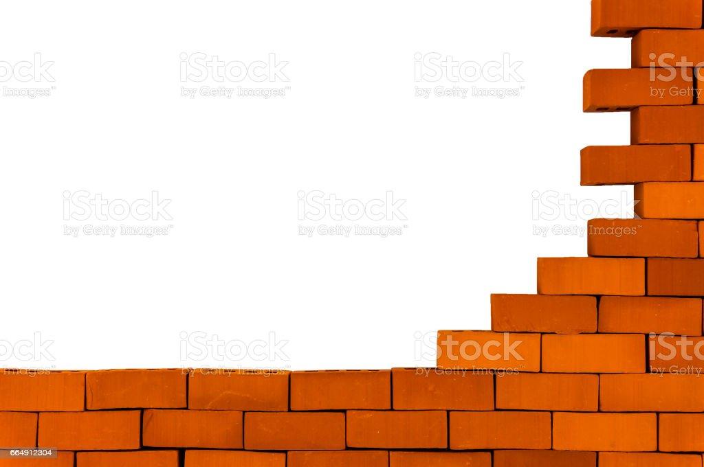 A brick wall under construction. stock photo