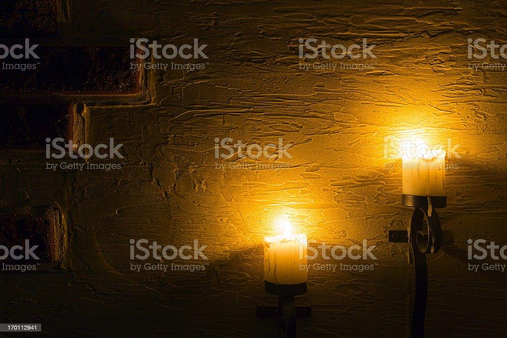 Mur de briques avec bougies - Photo