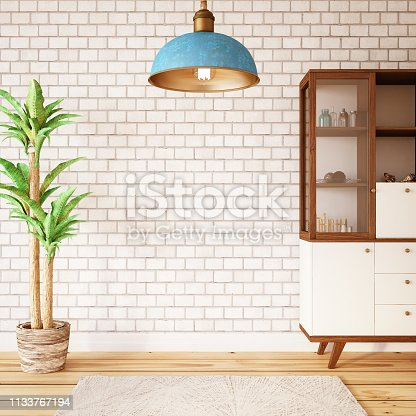White Brick Wall with Display Cabinet
