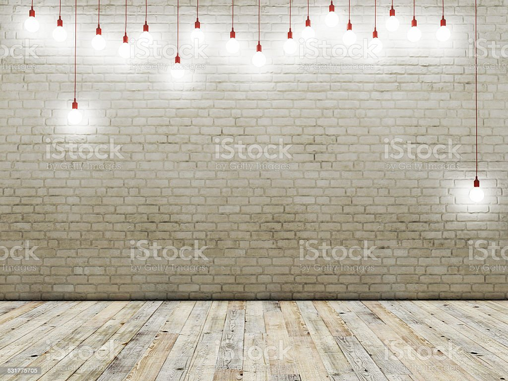 Brick wall with light bulbs, background stock photo