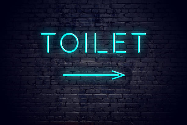 Brick wall with neon arrow and sign toilet