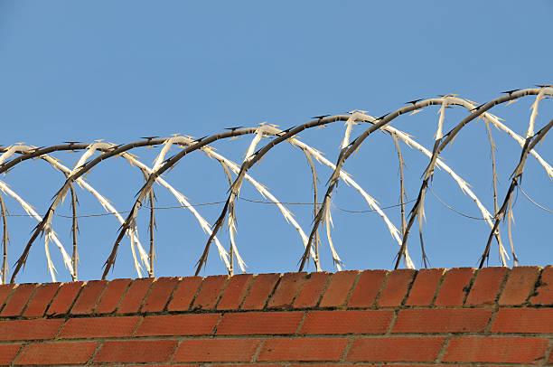Brick wall with razor wire stock photo